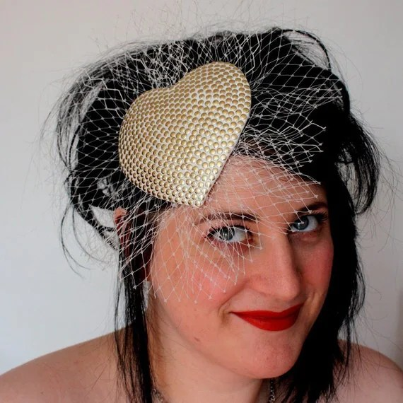 Rock n roll bridal fascinator ivory gold studs with veiling