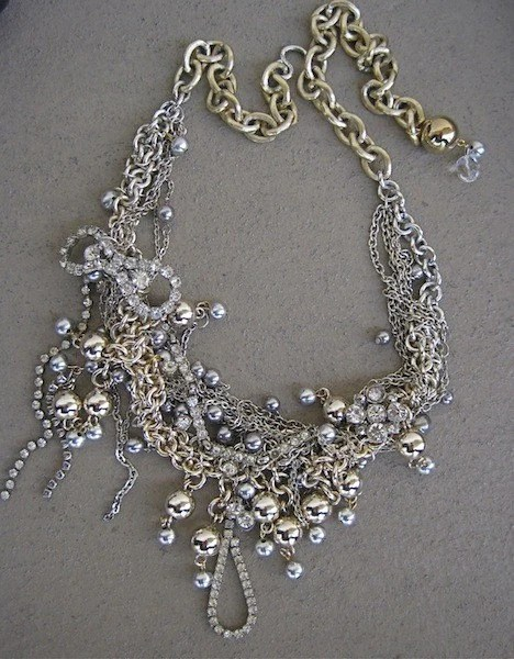 The Daring Debutante-Masses of Chains, Beads and Rhinestone Statement Necklace