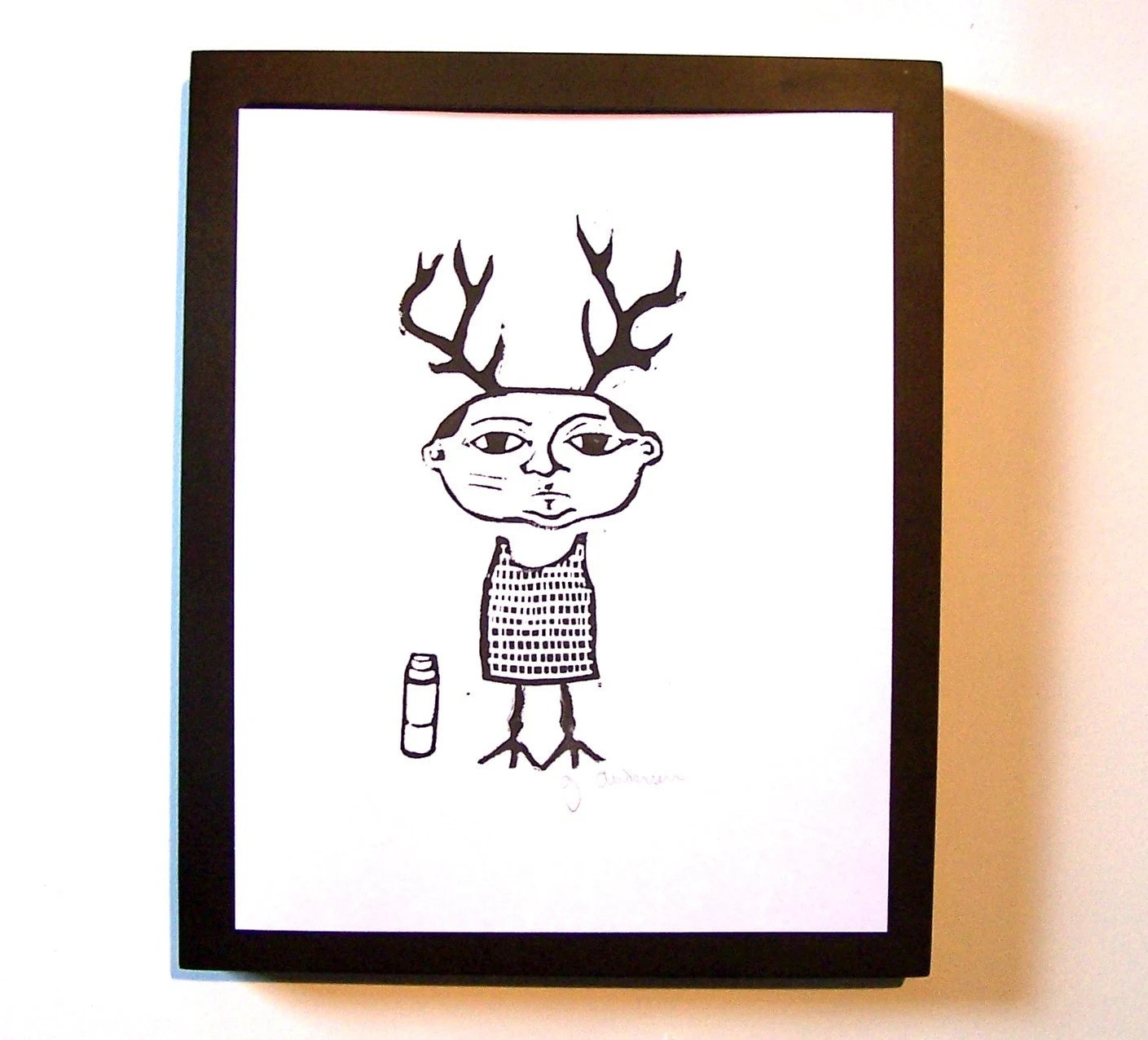 PRINT - Antler bird man w/ thermos