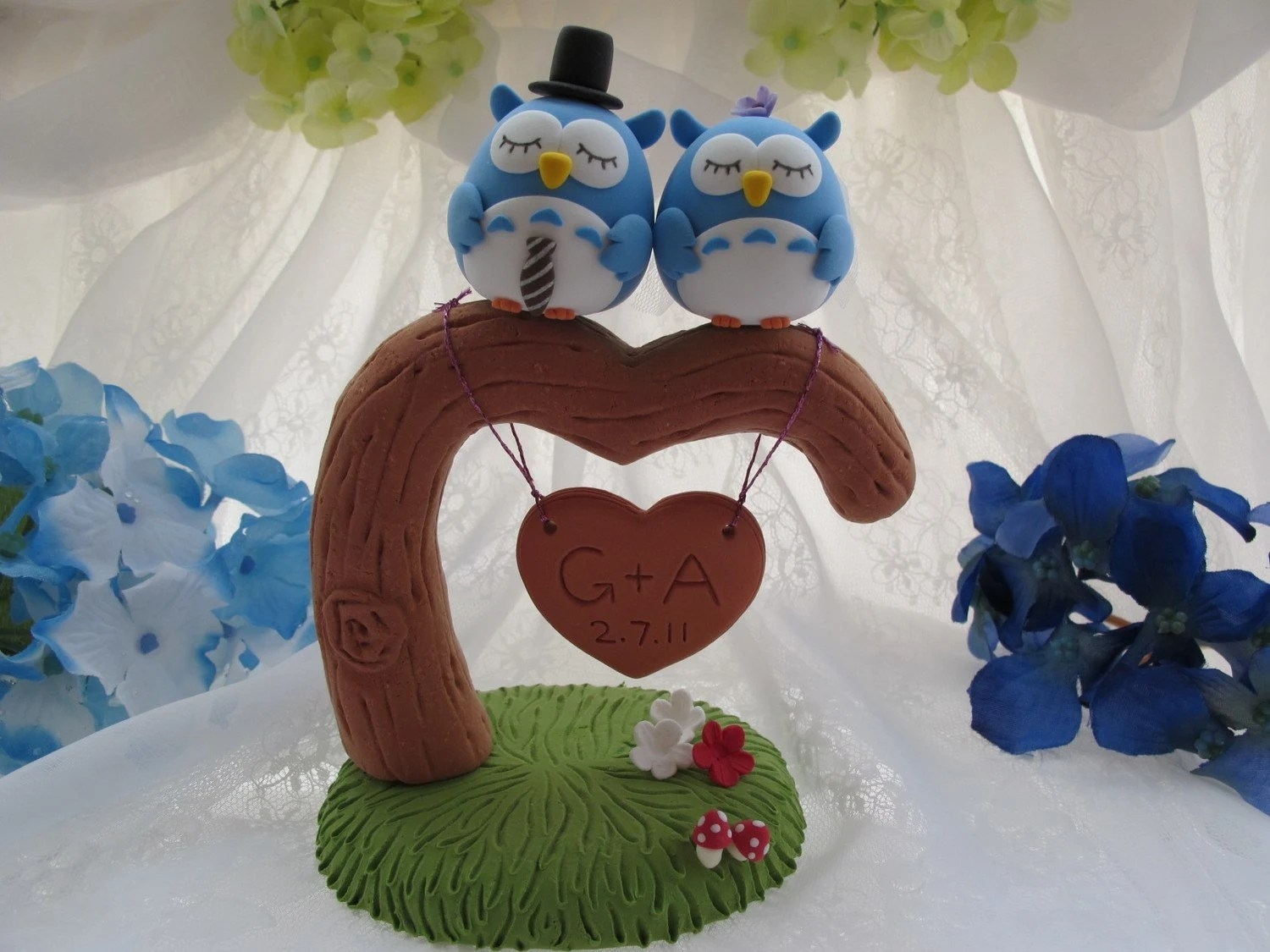 Custom Wedding Cake Topper -Handmade lovely owls with love  tree