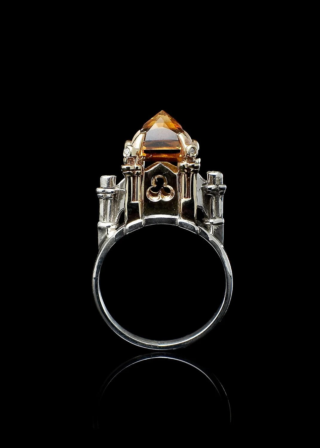 Metal Couture Cathedral Ring with Citrine and Diamonds
