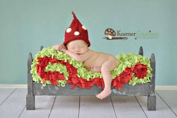 0-3 Months Newborn Infant Baby Red and White Polka Dot Stocking Cap Boutique Hat Photo Prop