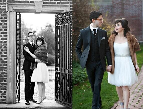 Tea Length Bubble Hem Wedding Dress