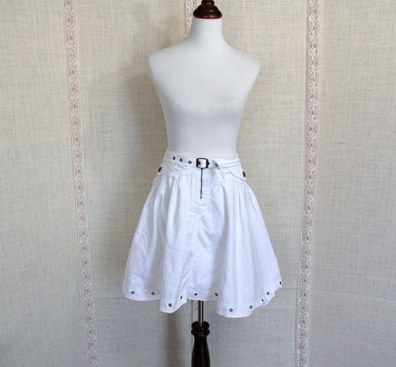 White Denim Full Skirt