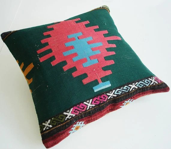 Antique wool kilim pillow cover