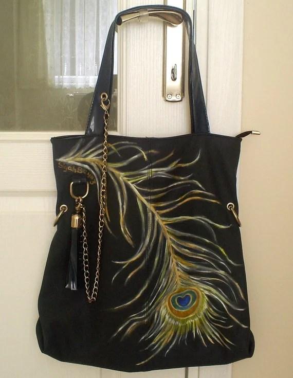 PEACOCK FEATHER Handpainted Shoulder Bag Purse SiyahBeyaz