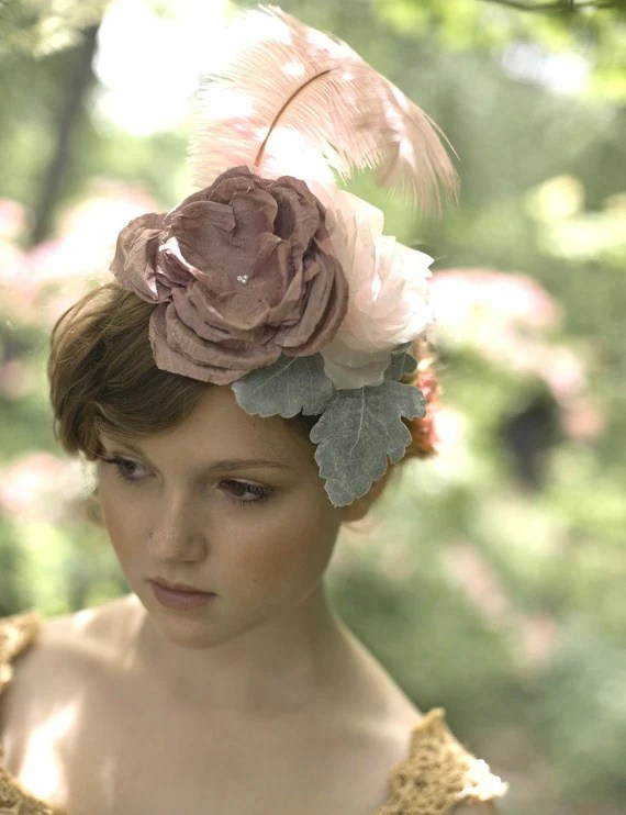 Pink and dusty green bridal mini hat - Style 042 - Made to Order