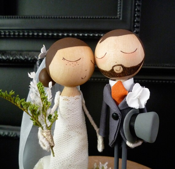 Custom Keepsake Wedding Cake Topper with Custom Wedding Dress and Tophat