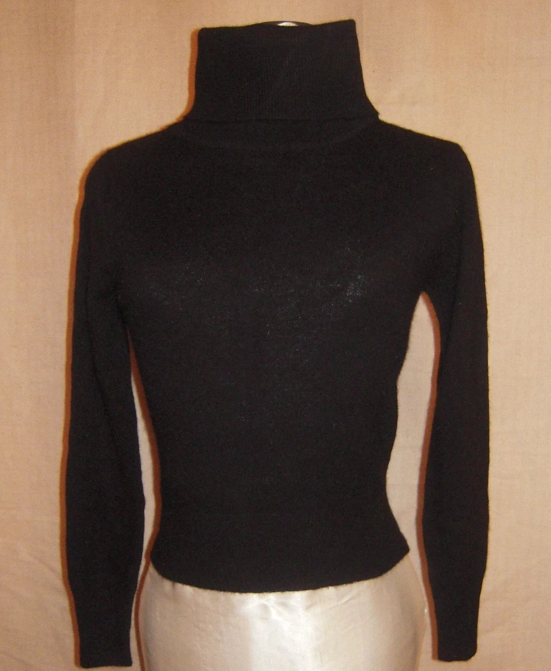 Designer Lambswool and Angora  Black Turtleneck Sweater.  1980's Tric-Trac Ltd, by Phyllis Keitlen. Designers Den vintage overstock never worn, brand new condition.  Limited Stock.   FREE DOMESTIC SHIPPING.