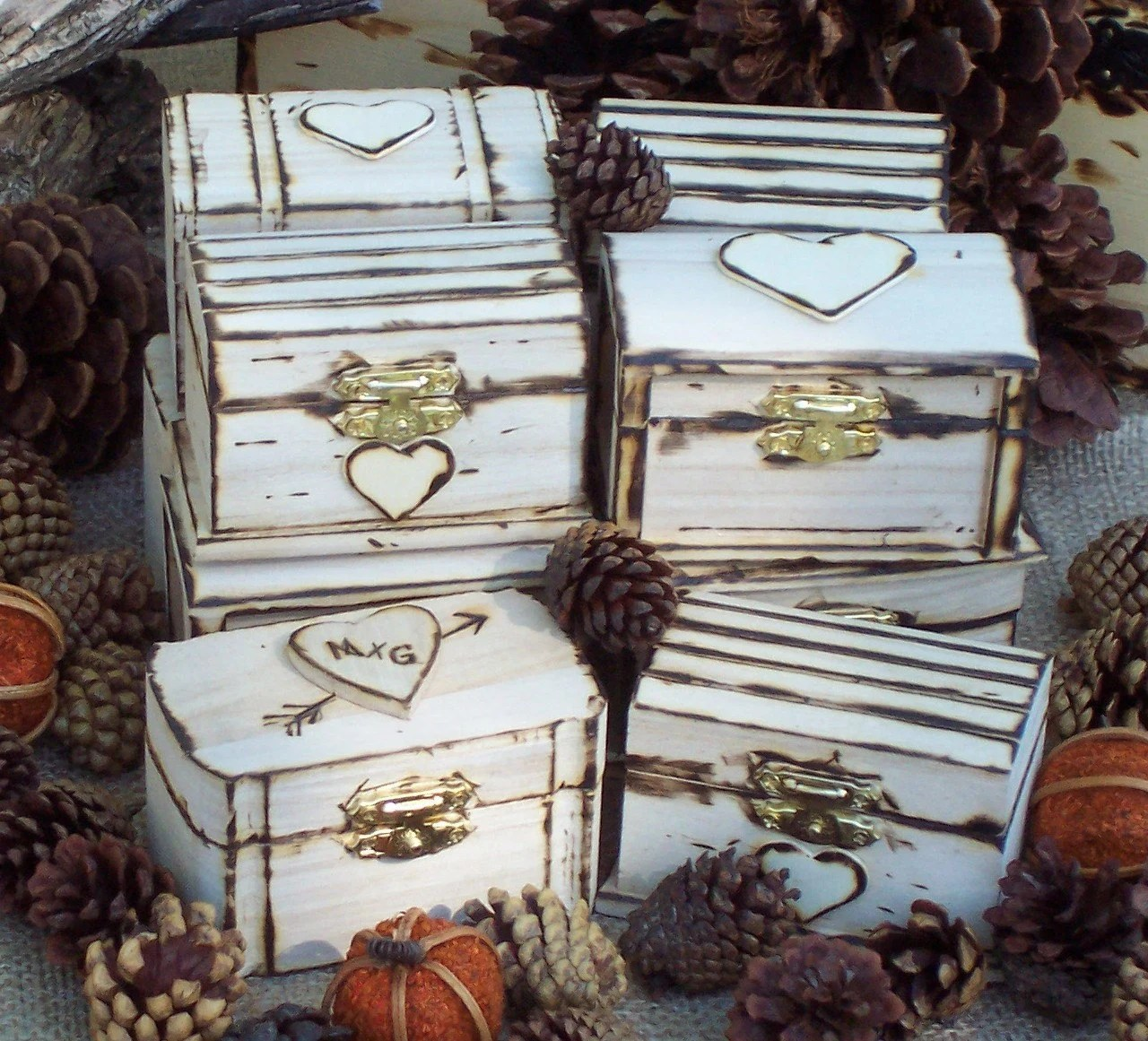 Rustic Personalized Engraved Wedding Favor Boxes