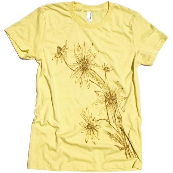 Black Eyed Susan Women's Lemon Yellow Graphic Tee Shirt