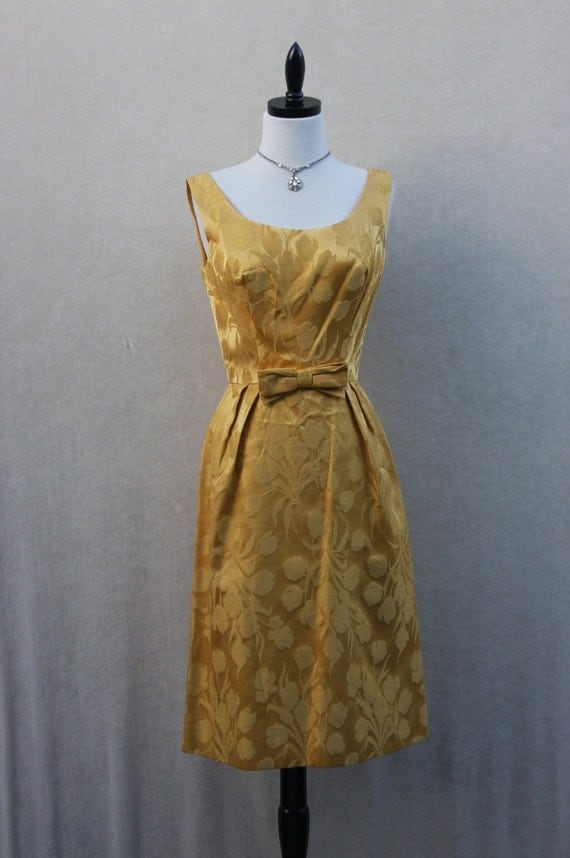 Vintage GOLD DAMASK WIGGLE Party Frock