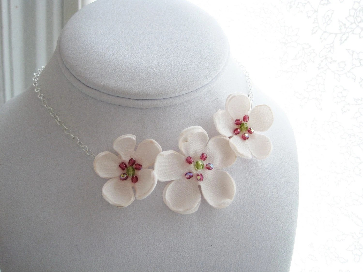 YUKIKO - sakura  - Made To Order - fabric flowers asymmetrical choker style necklace