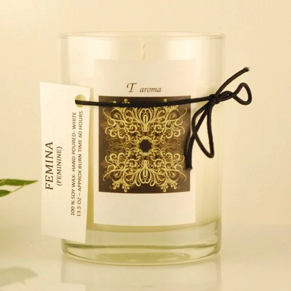 SALE  - Femina- lavender and ylang ylang - 13.25 OZ glass tumbler - soy candle