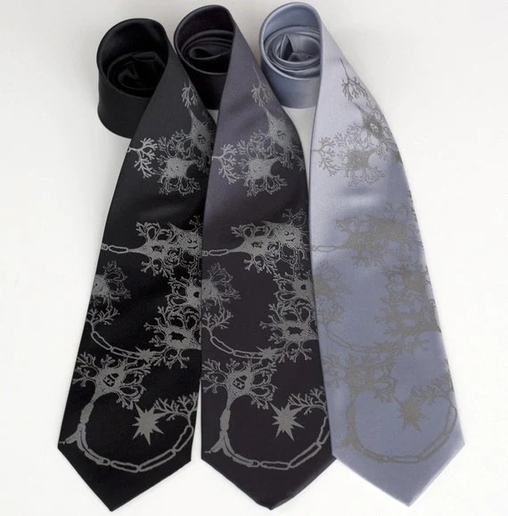 Nervous Energy, aka Fried Brains. Silkscreened microfiber necktie.