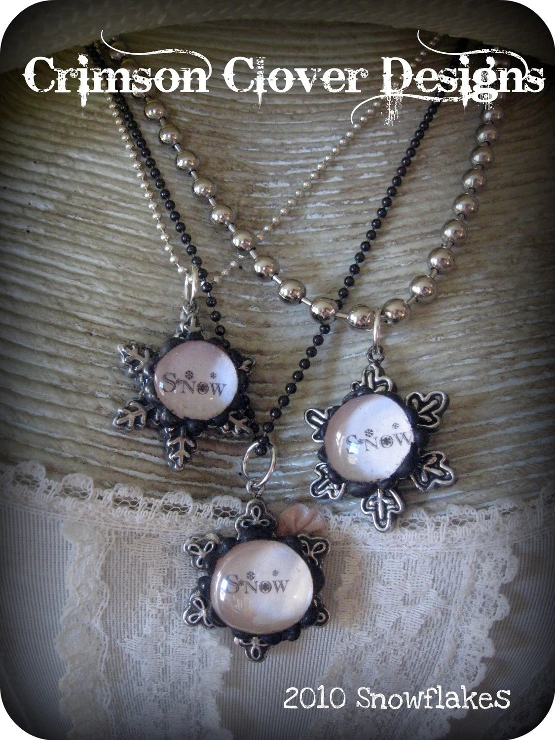 Soldered Bubble Snowflake Charm Necklace