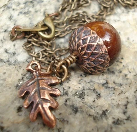 Copper Acorn Necklace