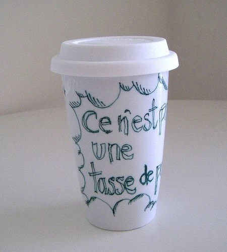 Eco Friendly Travel Mug with Lid Hand Painted French star cloud white green Geekery handmade by sewZinski on Etsy