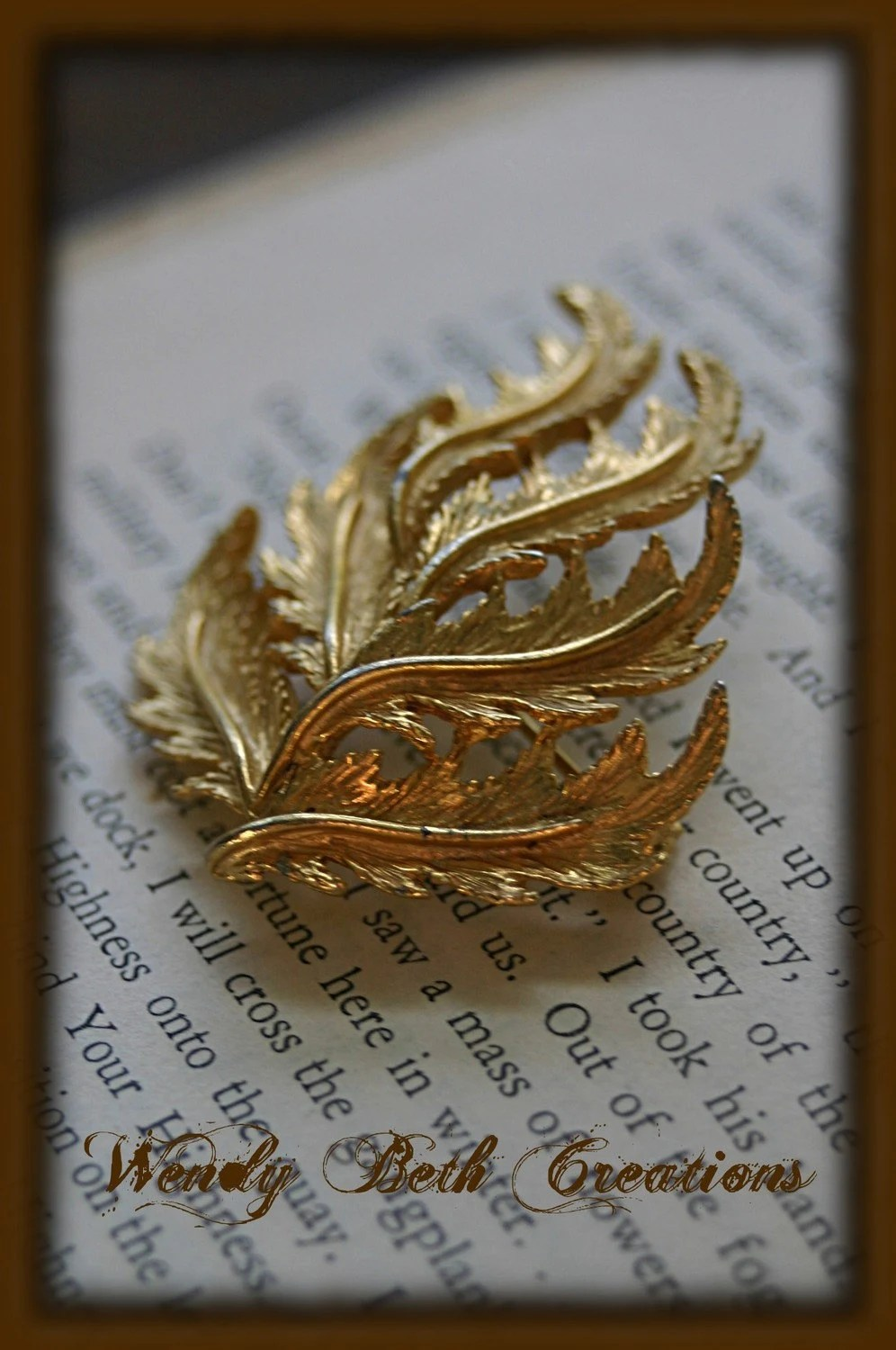 Vintage Golden Fern Brooch