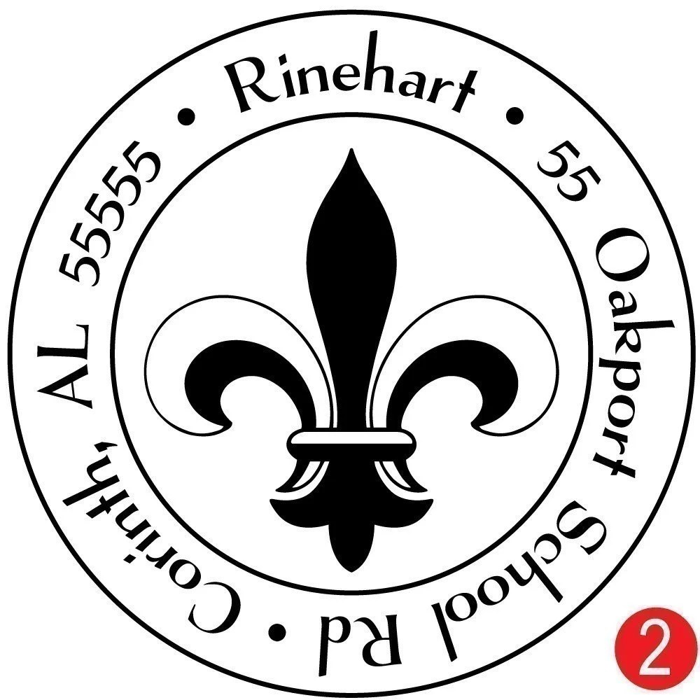 Medium Fleur de Lis Customized Address Stamp