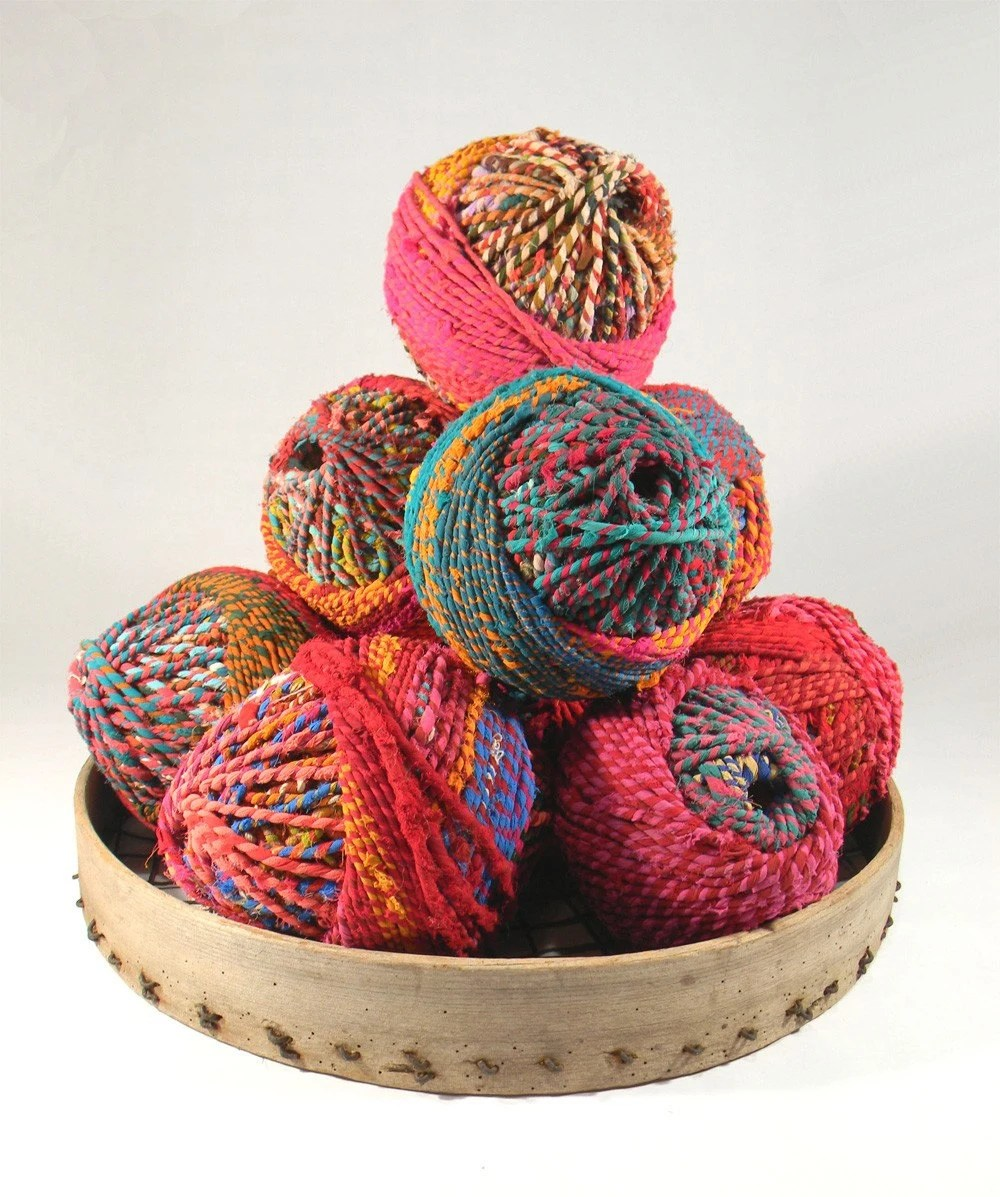 Giant SariRope Ball - Multicolored Recycled Sari Rope Ball
