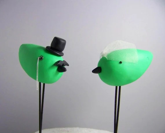 Custom Made Monocle and Mustache Love Birds Cake Topper Colors of Choice