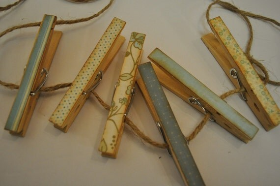 Beautifully Vintage Clothespin Clips - set of 6