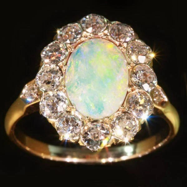 Antique Victorian engagement ring opal diamonds