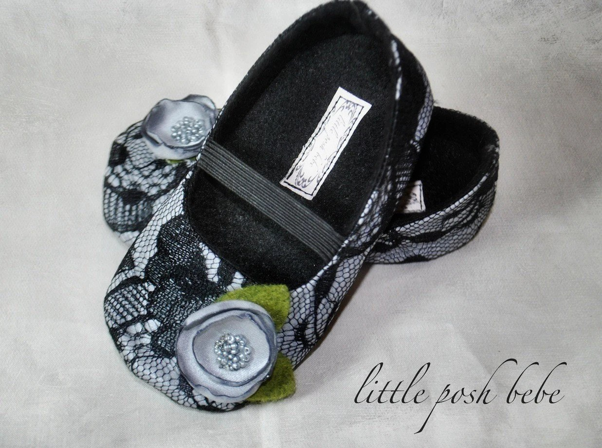 Handmade Baby Toddler Shoes Lydia Black Lace/ Silver  Mary Janes