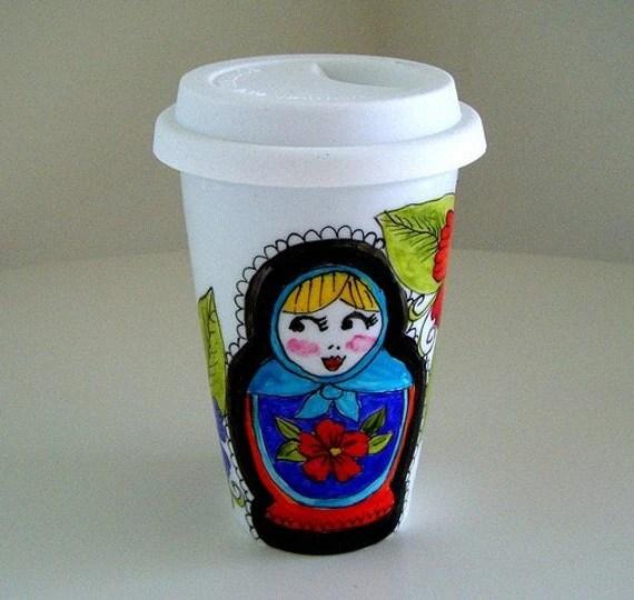 Eco Friendly Travel Mug Hand Painted Russian Doll Flowers Folk Art Babushka Matryoshka by sewZinski on Etsy