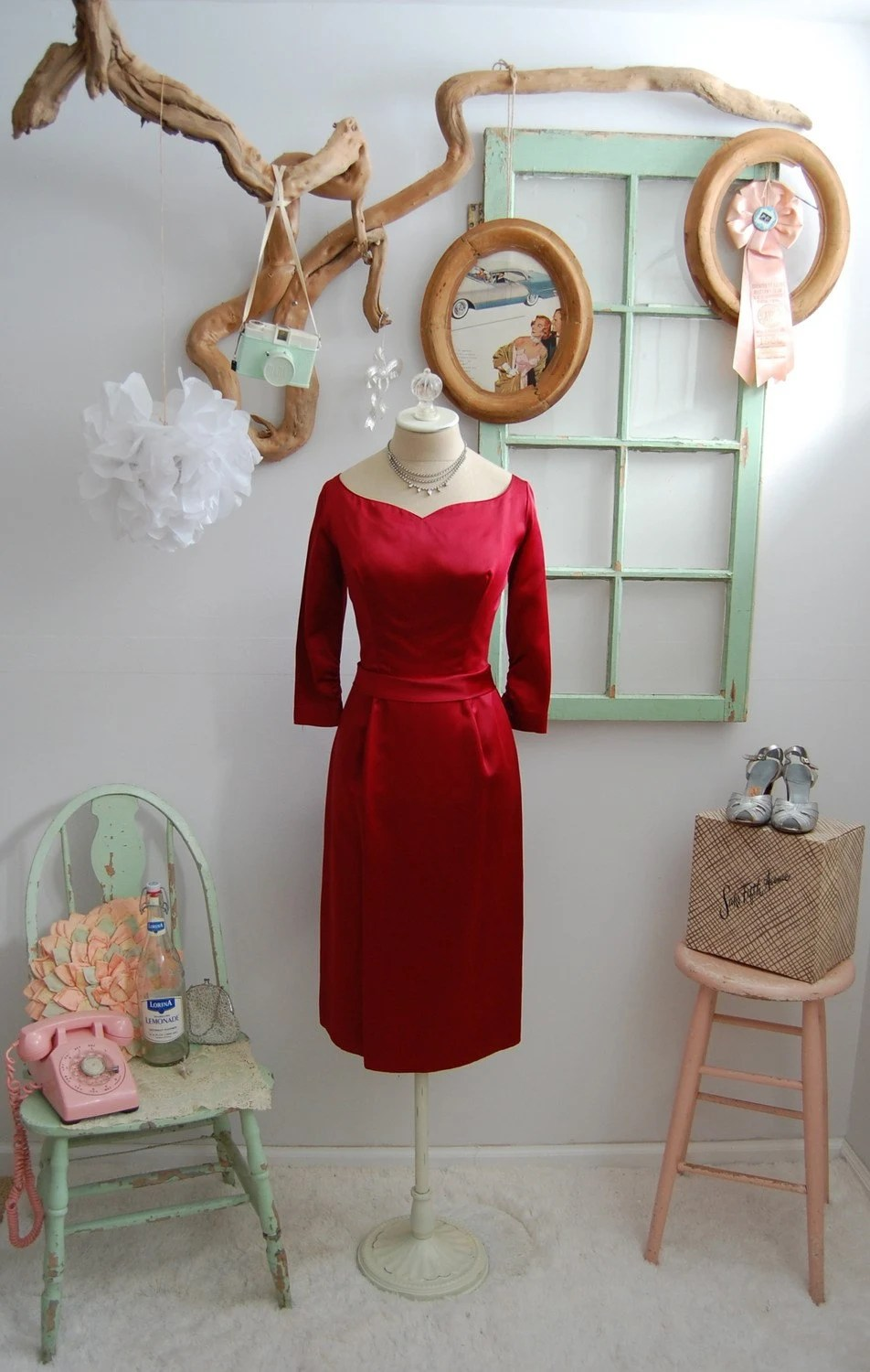 The Daphne- Vintage 1950s Red Satin Sweetheart Bustled Back Cocktail Dress Size Small