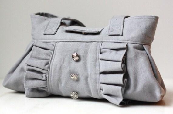 Gray tuxedo handbag purse