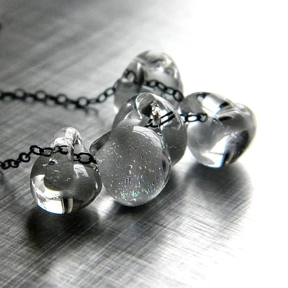 Platinum Silver Lampwork Teardrop Oxidized Sterling Silver Necklace - Solaris