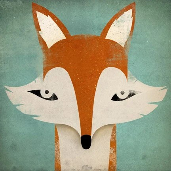 Mister Fox GRAPHIC ART Illustration 7x7 giclee print SIGNED