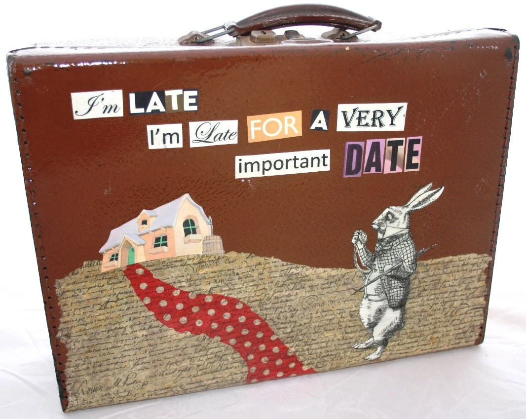 Vintage Upcycled Alice in Wonderland Small Suitcase