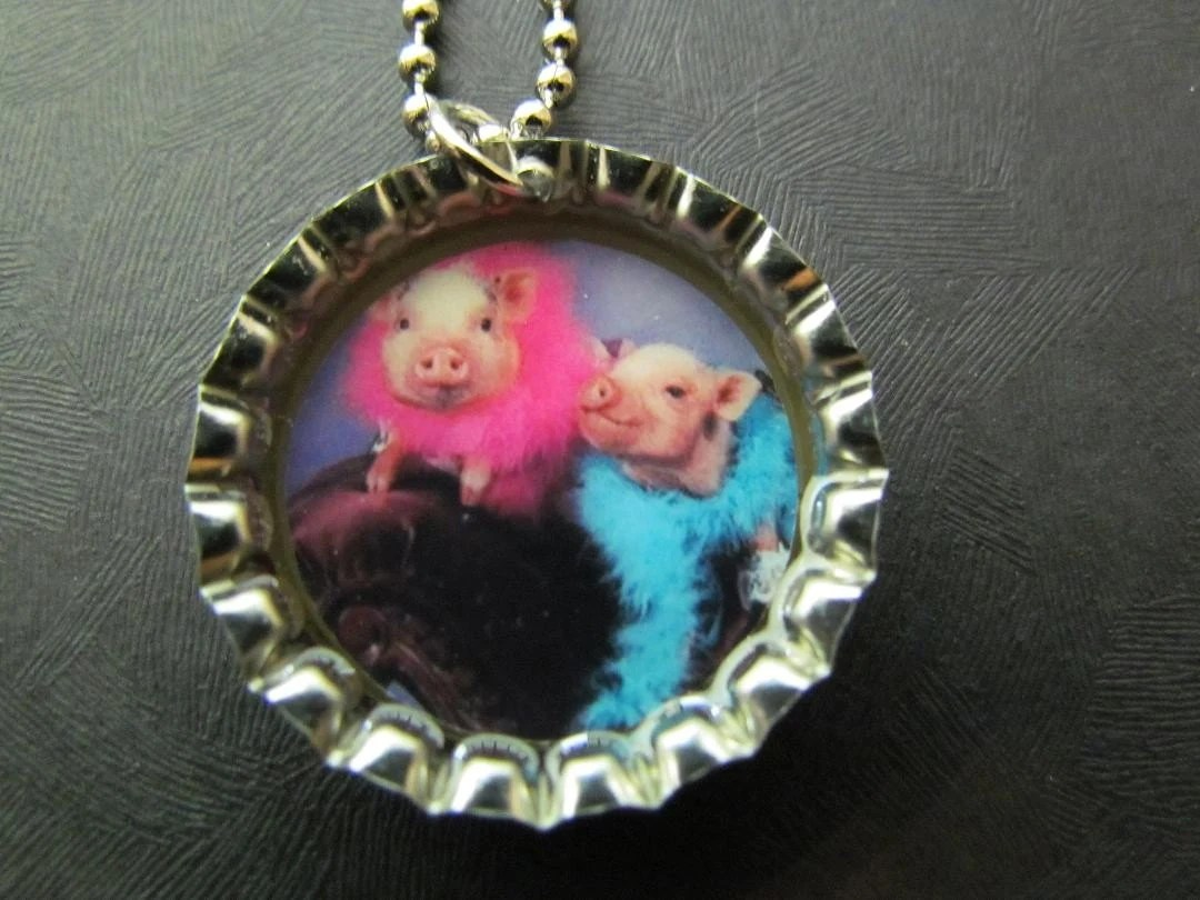 Special Order / 5 Bacon TIme  and  1 Pretty Pigs  Bottle Cap Necklaces /  6 Party Favors