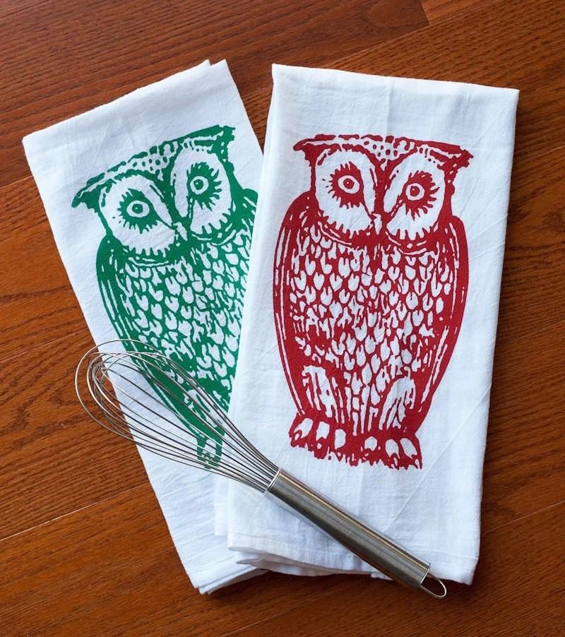 owls, tea towel, boygirltees, spincushions