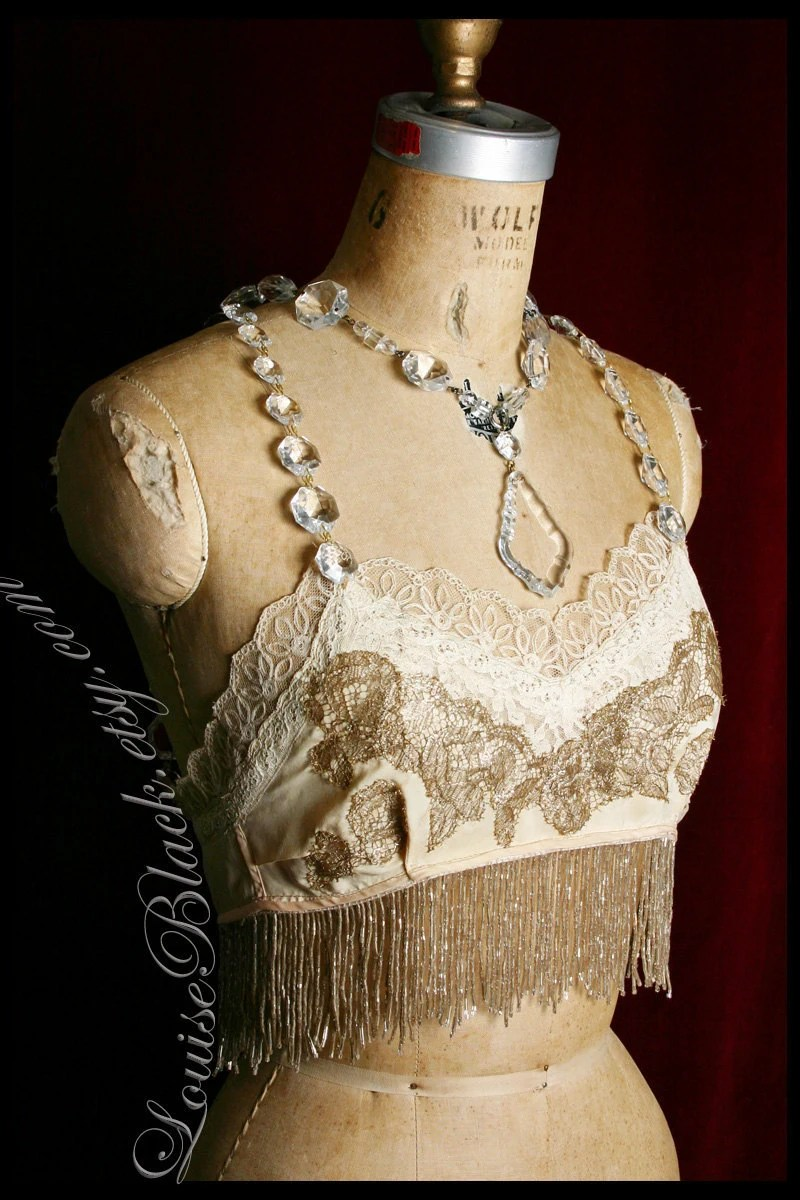 Lady of the Flying Trapeze Beaded Bra Top by Louise Black
