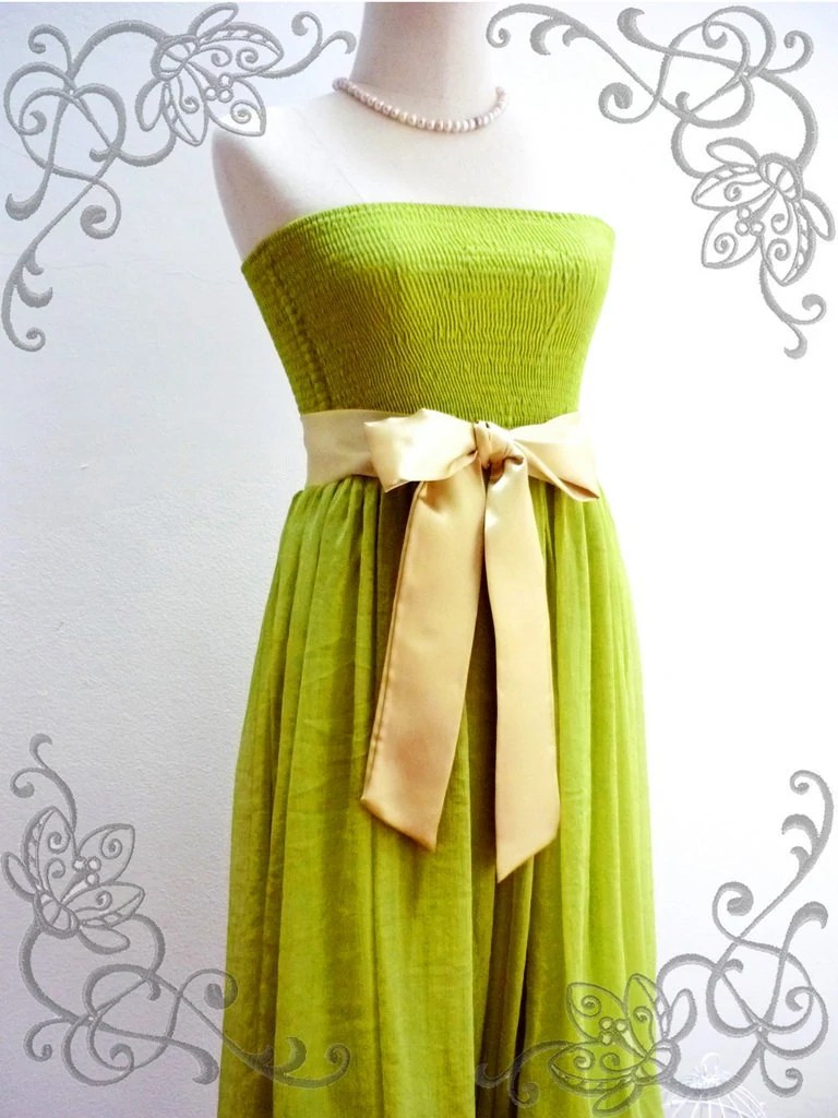 Prom Queen - Chiffon Dress in Bright Lime Green for Prom, Bridemaid, Wedding Party  ( Available in many color please convo)