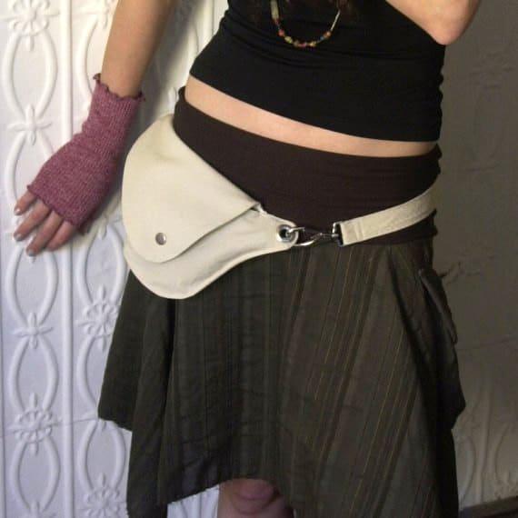 Cream Cotton Rip Stop Belt Bag