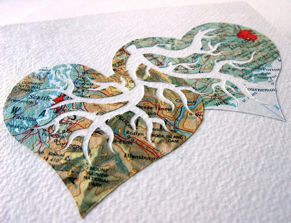 Custom Vintage Map Cutout Two Hearts Beat As One Original Design by PaperCutWorks