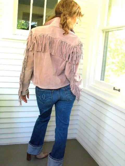 Vintage suede leather fringe jacket, dusty rose color, bohemian biker , size L