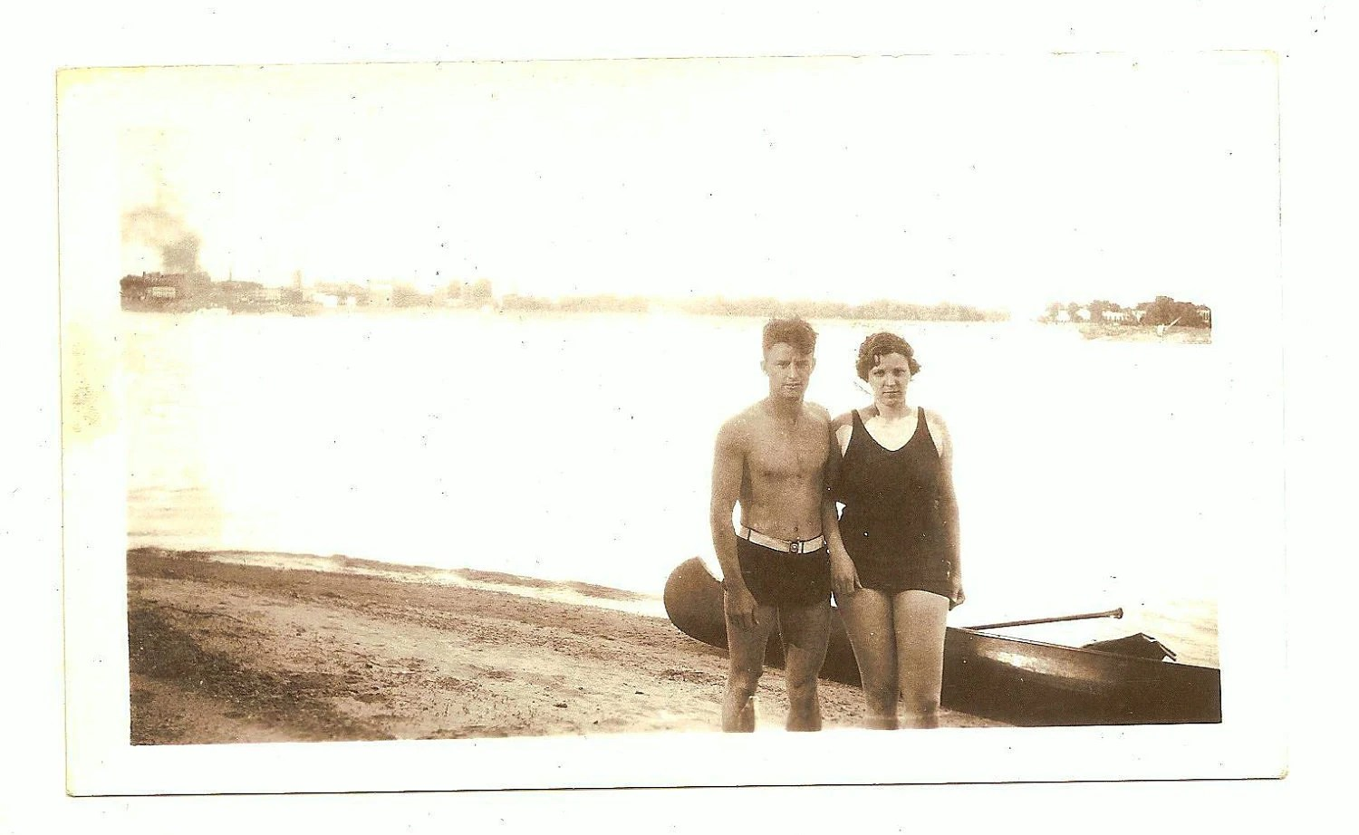 Vintage Photo Shirtless Man Woman Swimsuit Canoe Beach 1936