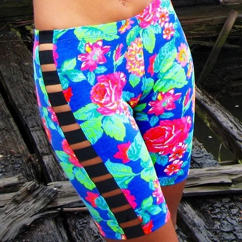 Last Pair / Cut-Out Bike Shorts / Blue Floral / Small