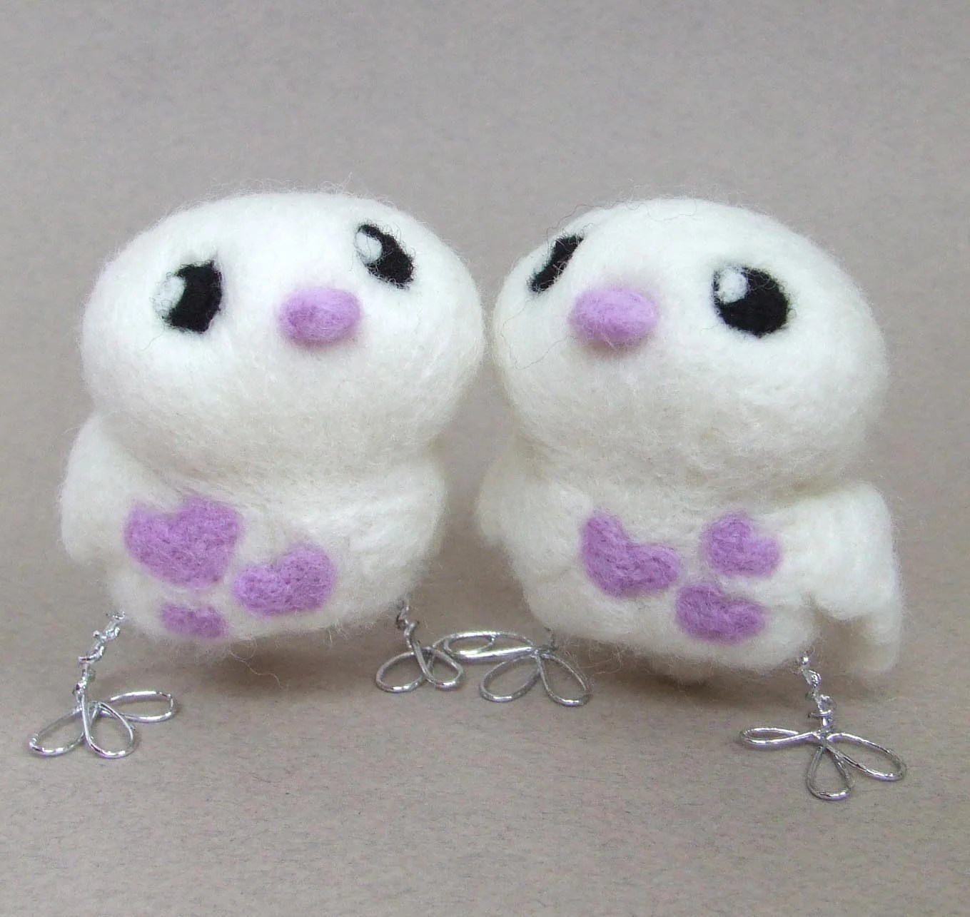 Lilac Love BirdsTweet Needlefelted Wedding Cake Topper