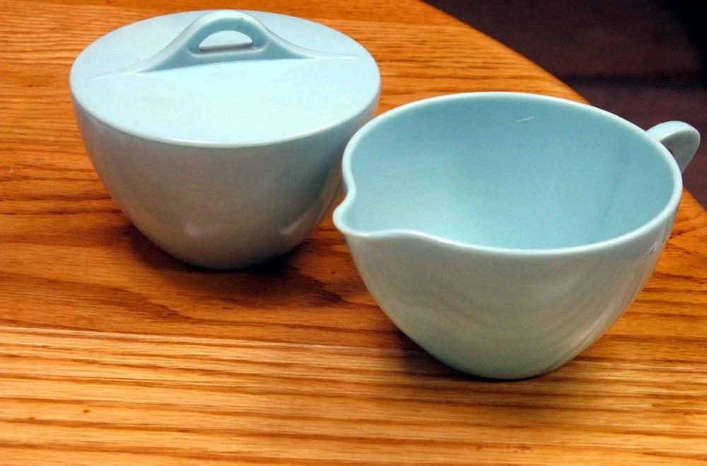 Vintage Robin Egg Blue Melamine Cream and Sugar Set - Wallace Dinnerware