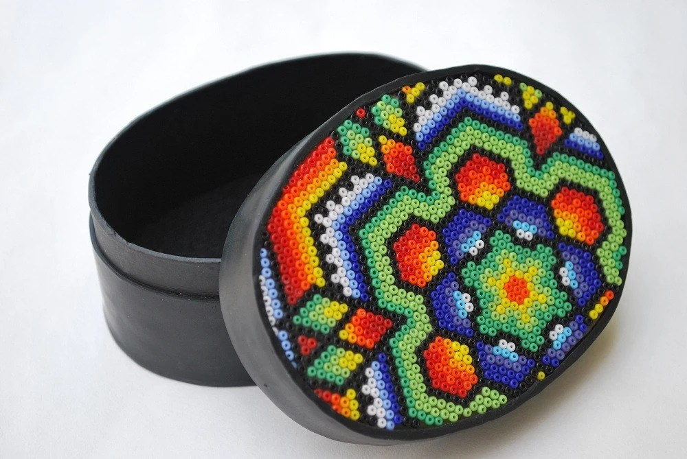 Huichol-Style Beaded Box, medium