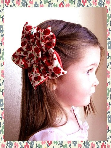 Luxurious Carnation and Strawberry Print Fabric Flower for Accessorizing or Embellishments