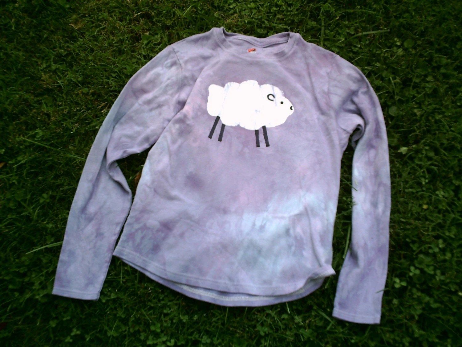 GOT WOOL ladies' SM/MED long-sleeved swirly purple batik sheep t-shirt