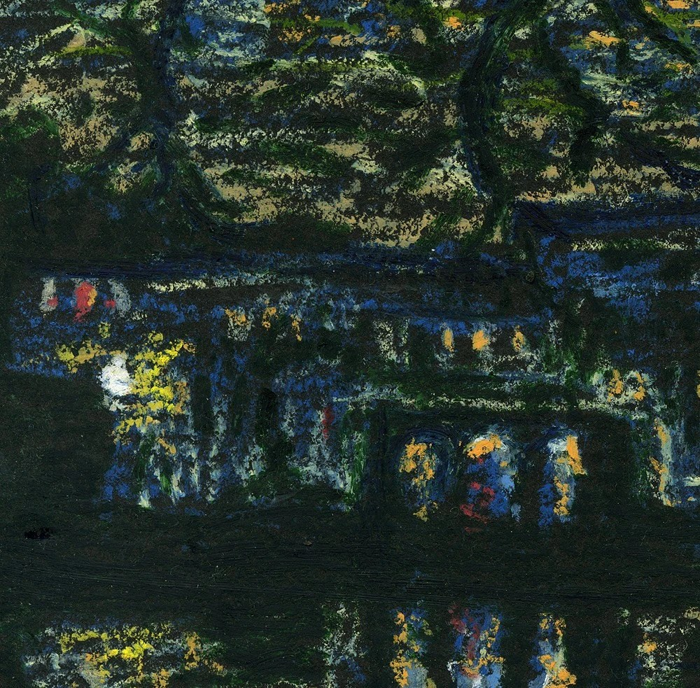 A Winter Night in a City - Oil Pastel Original Impressionist Painting